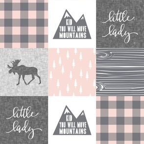 Little lady / Kid you will move mountains - light  pink and grey