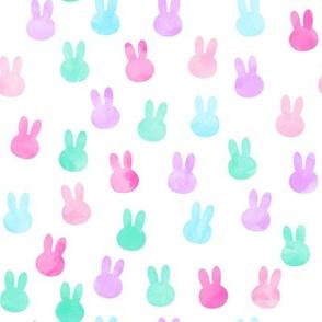 """1""""  bunnies in multi - pink, purple, teal C18BS"""