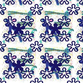 Blue crazy color splatter