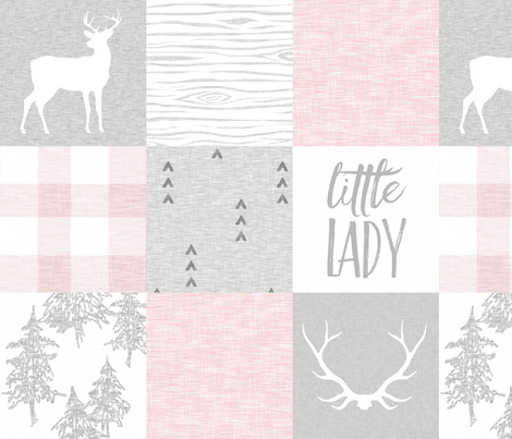 So Loved, Little Lady - pale pink, grey and white fabric by sugarpinedesign on Spoonflower - custom fabric