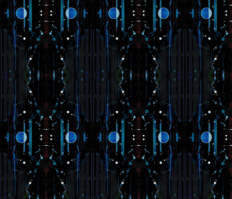 Space City Painting  fabric by madlyne_woodward on Spoonflower - custom fabric