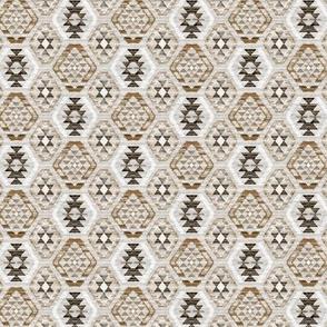 Tiny Scale Woven Textured Kilim - neutral brown, cream, warm grey
