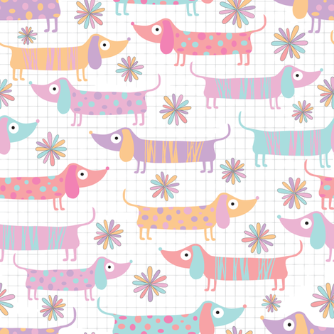 Dachshunds and Daisies in white fabric by red_raspberry_designs on Spoonflower - custom fabric
