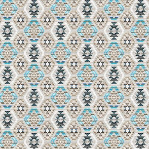 Tiny Scale Woven Textured Kilim - turquoise, brown and cream