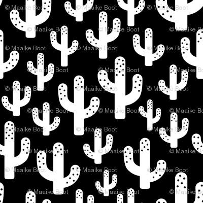 Cactus garden cool trendy summer design for kids in monochrome black and white XS