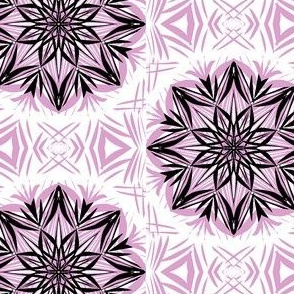 Black Frosty Lace Stars on White (#1)