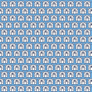 English Bulldog fabric - white Bully faces on blue background
