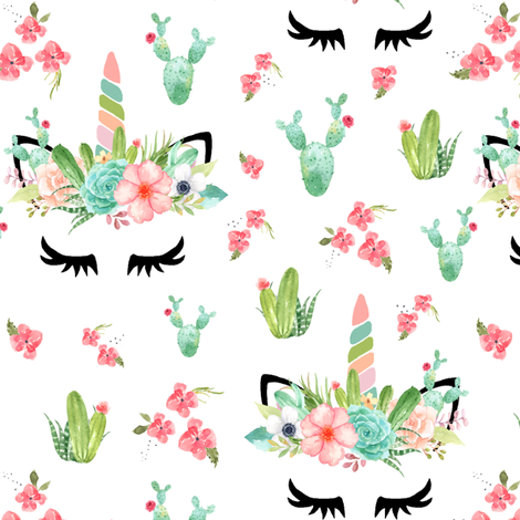 Cactus Coral Unicorns  fabric by lil'faye on Spoonflower - custom fabric