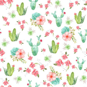 Cactus and Coral Floral