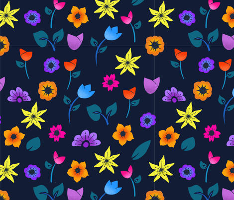 Tulip Party Multi fabric by ebright on Spoonflower - custom fabric