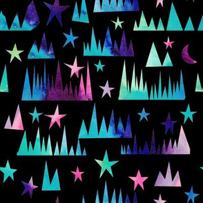 Starry mountains - black background