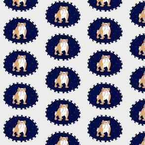 Bulldogs in Blues! Cute English Bulldogs in pretty little cameo frames.