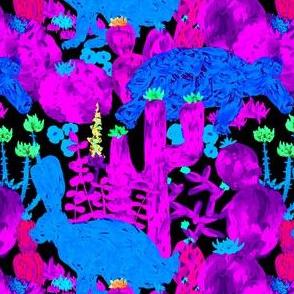Desert Tortoise + Hare in Neon Pink and Black Multi