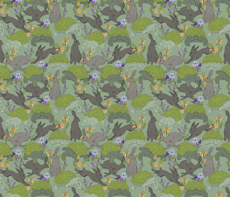 The Tortoise and the Hare fabric by washburnart on Spoonflower - custom fabric
