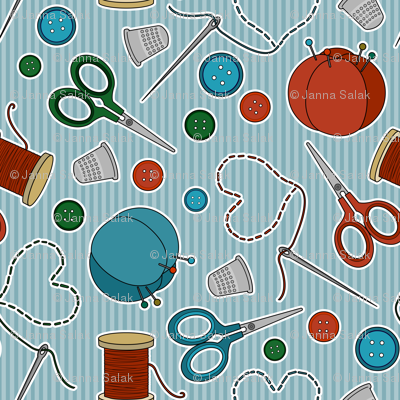 Cute Sewing Themed Pattern Blue Background Fabric