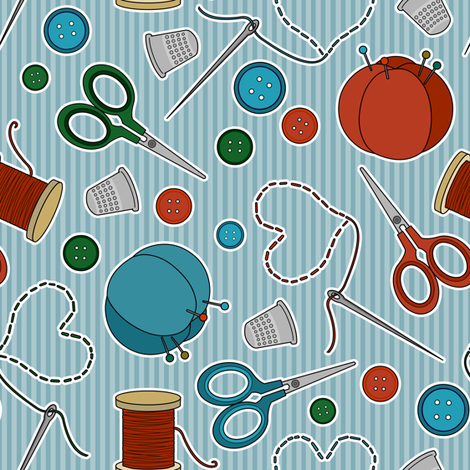 Cute Sewing Themed Pattern Blue Background fabric by jannasalak on Spoonflower - custom fabric