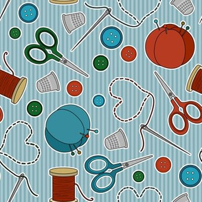 Cute Sewing Themed Pattern Blue Background