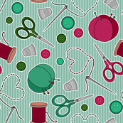 Cute Sewing Themed Pattern Green Background