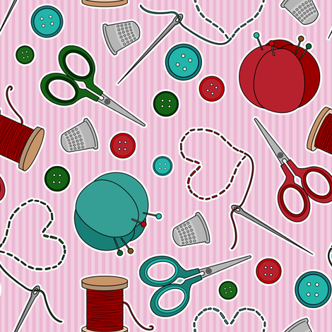 Cute Sewing Themed Pattern Pink fabric by jannasalak on Spoonflower - custom fabric