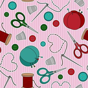Cute Sewing Themed Pattern Pink