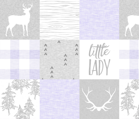 So Loved, Little Lady - Lilac And Grey, Baby Girl Quilt fabric by sugarpinedesign on Spoonflower - custom fabric