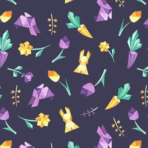 Origami bunny on dark violet