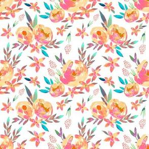Bright Vivid Summer Solarized Florals Peach Pink