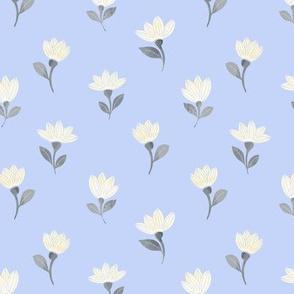 watercolor flowers on blue