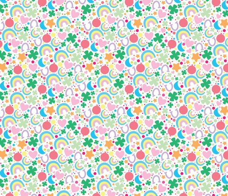 aloha lucky on white small fabric by alohababy on Spoonflower - custom fabric