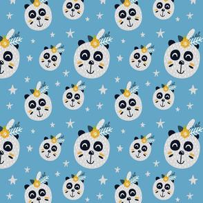 Boho Pandas on Light Blue with Stars