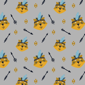Yellow and Mustard Foxes on Grey with Arrows