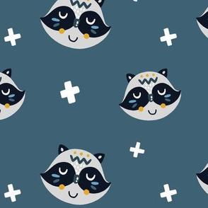 Raccoons on Dark Blue