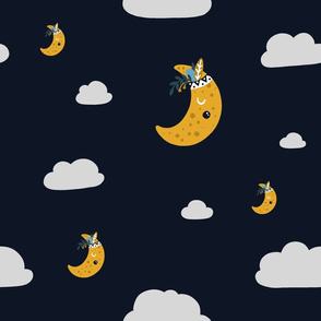 Tribal Moons and Clouds on Navy Sky