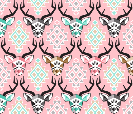 Modern Pink Bucks fabric by made_whimsy on Spoonflower - custom fabric