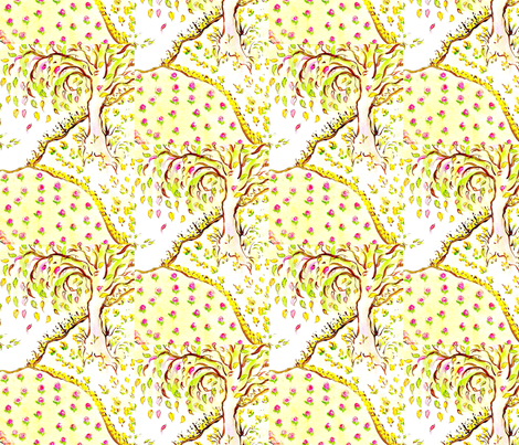 Lady Tree On A Hill fabric by lissikaplan on Spoonflower - custom fabric