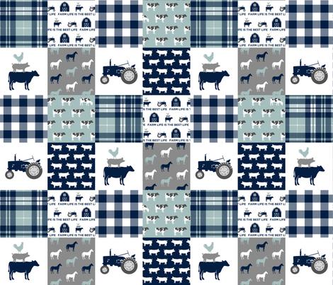 Farm life is the best life - Patchwork fabric - navy and dusty blue plaid farm fabric C18BS fabric by littlearrowdesign on Spoonflower - custom fabric