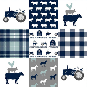 Farm life is the best life - Patchwork fabric - navy and dusty blue plaid farm fabric C18BS