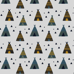 Native American Indian Tee Pees on Grey