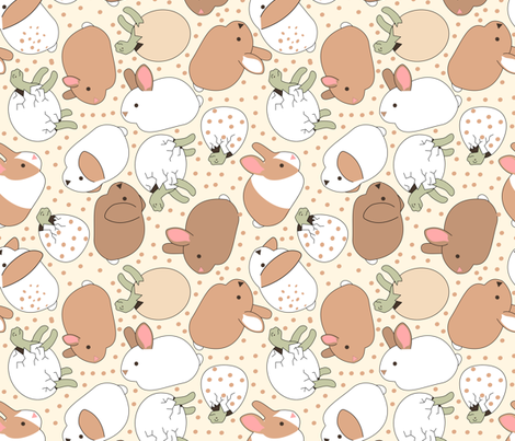 bunny and tortoise fabric by pamelachi on Spoonflower - custom fabric