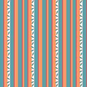 Turquoise and Orange Stripe
