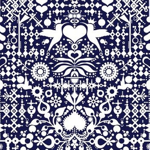 Folklore, Yup! A fun and intricate design with hearts, birds, dots and geometrics in blue and white