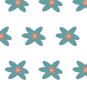 teal flower on white 7x7