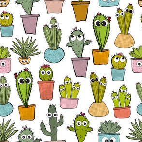 Happy Cacti, Sad Cacti in White