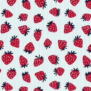 strawberries - dark red on blue stripes
