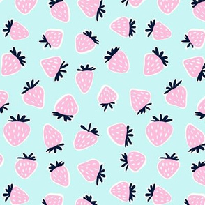 strawberries - pink on light blue
