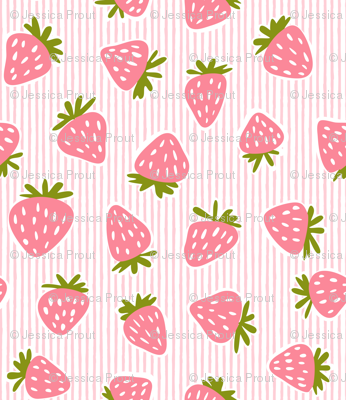 strawberries - pink stripes