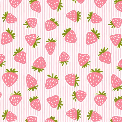 strawberries - pink stripes fabric by littlearrowdesign on Spoonflower - custom fabric