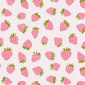 strawberries - pink stripes