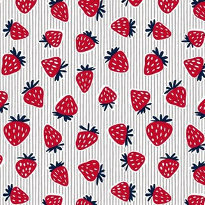 strawberries - red white and blue (grey stripes)