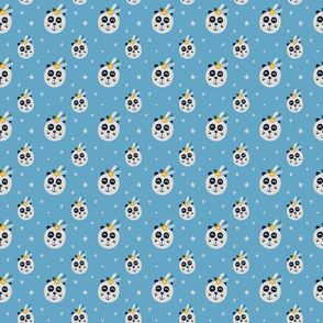 Tribal Pandas and Stars on Light Blue